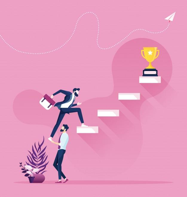 cooperacion-trabajo-equipo-empresario-ayuda-subir-escalera